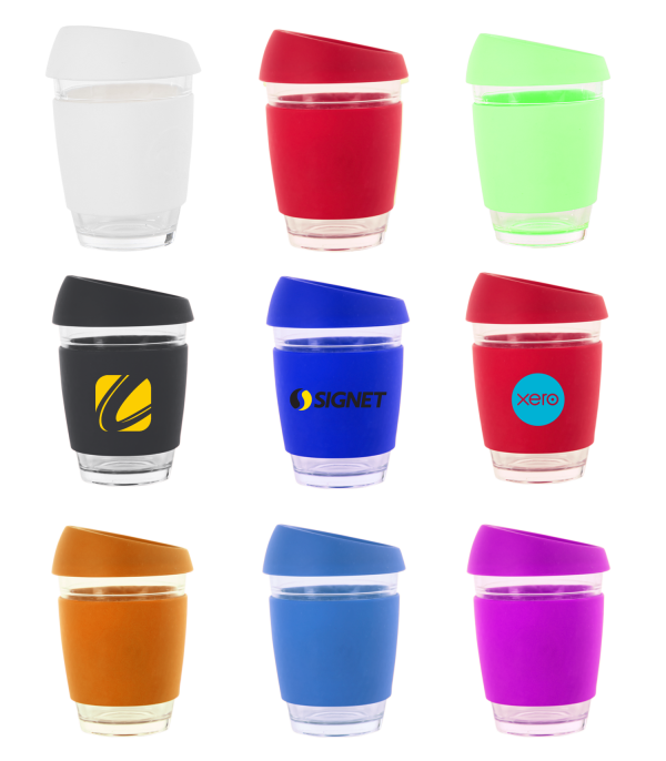 340ml. High quality glass. Coloured silicon lids and bands. Dishwasher safe. Colours: Black, royal, red, white, lime, navy, yellow, orange, purple. Print Area: 60 x 34mm